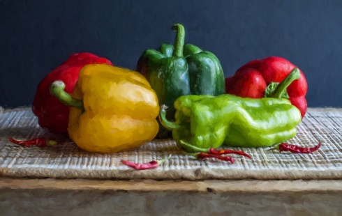 Peppers Still Life Painterly Style
